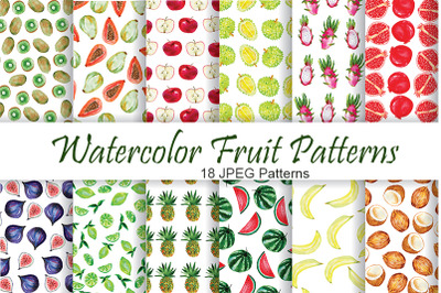 Fruit Patterns. Watercolor Fruit clipart.