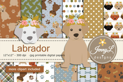 Labrador Dog Digital Papers and Clipart