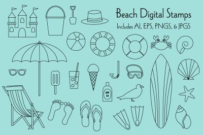Beach Digital Stamps