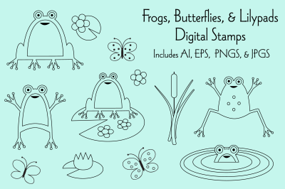 Frogs, Butterflies & Lilypad Digital Stamps
