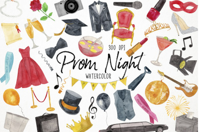 Watercolor Prom Night Clipart, Prom Clipart, Graduation Clipart