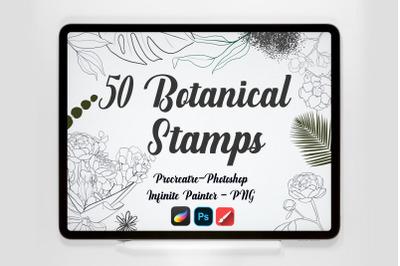 50 Procreate Photoshop Infinite Painter Botanical Stamps Brushes