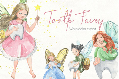 Tooth Fairy.Watercolor clipart