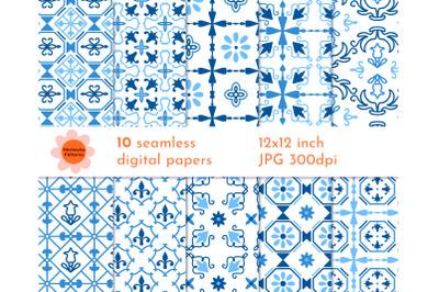 Portuguese tile pattern digital paper. Spanish mosaic blue tiles