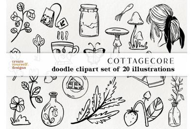 Cottagecore doodle illustrations - cottage life clipart
