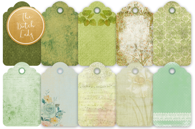Label & Tag Clipart Set Green