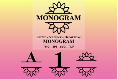 Monogram Split Letters | Monogram Decorative SVG