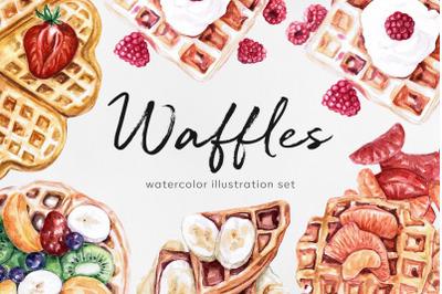 Watercolor food set illustrations. Waffles. Homemade food