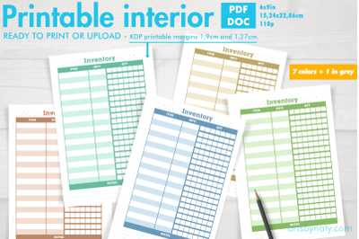 Set of inventory KDP notebooks in 7 colors and 1 in grey.