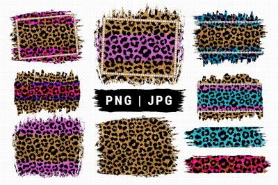 Leopard PNG Sublimation designs, Leopard print frame splash, Cheetah s