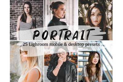 25 Portrait Lightroom Presets Pack, Mobile & Desktop Lightroom Presets