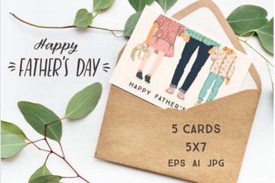Happy Fathers Day. Set of cards 5x7