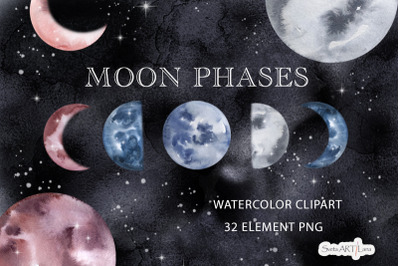 Watercolor Moon Phases, Lunare Graphic Set