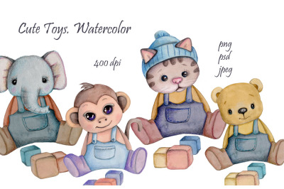 Set of Cute Toys. Watercolor illustrations..