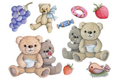 Teddy Bears' lunch. Watercolor hand drawn art.
