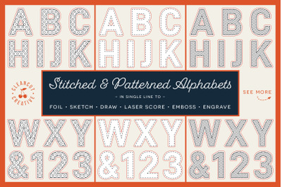 SVG Alphabet for foiling Stitched and Patterned Letters | single line