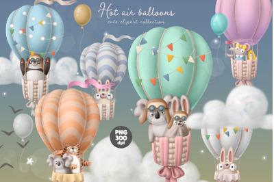 Hot air balloon with animals cute clipart set