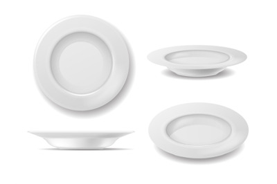 White plate set. Dish empty plates top and side view, realistic clean