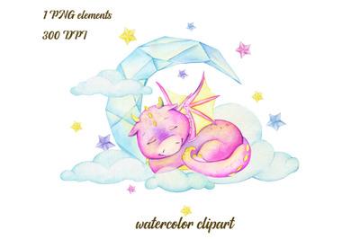 Watercolour clipart. Cute dragon sublimation, Illustration Cute Baby D
