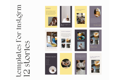 12 instagram templates, for stories, canvas and photoshop, set for bus