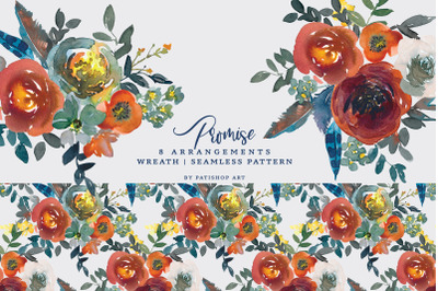 Watercolor Blue & Rusty Floral Clipart Set