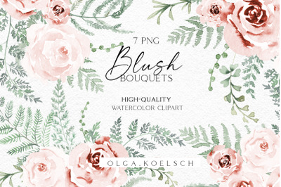 Boho roses bouquets clipart, Watercolor fern floral borders png, Weddi