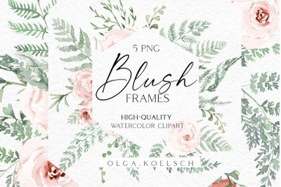 Boho roses frame clipart, Watercolor floral borders png, Wedding invit