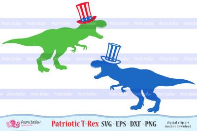 Patriotic T-Rex SVG, Eps, Dxf, Png