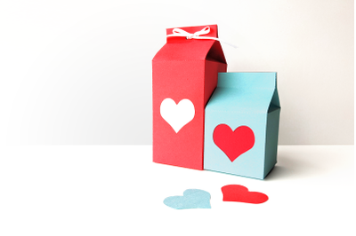 Milk Carton Boxes with Heart Cutout   SVG   PNG   DXF   EPS