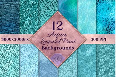 Aqua Leopard Print Backgrounds - 12 Image Textures Set