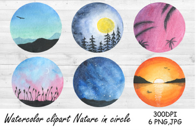 Watercolor Clipart Camping. Nature in circle. Landscape PNG
