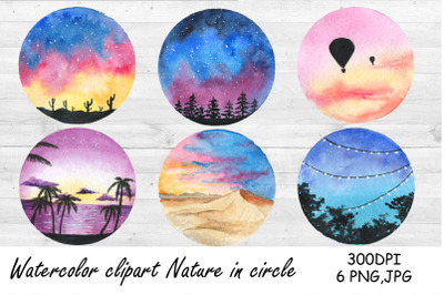 Watercolor Clipart Camping. Nature in circle. Landscape PNG, Sea, beac