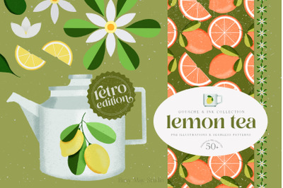 Lemon Gouache Illustrations Retro Edition and Patterns PNG