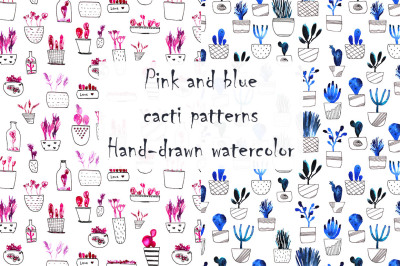 Pink and blue cacti patterns