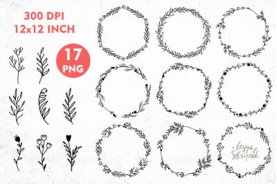 Frames PNG. Wreath frame, Monogram frame