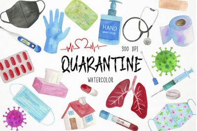 Watercolor Virus Clipart, Quarantine Clipart, Pandemic Clipart