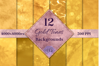 Gold Tones Backgrounds - 12 Image Set
