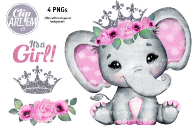 Cute Pink Silver Floral Crown Elephant PNG watercolor images