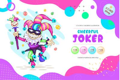 Cheerful cartoon joker
