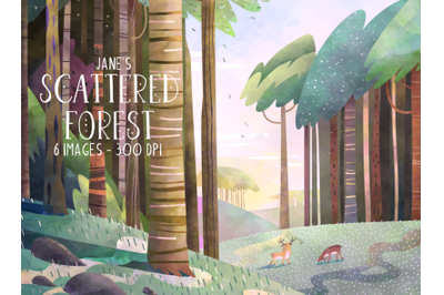 Watercolor Scattered Forest Clipart