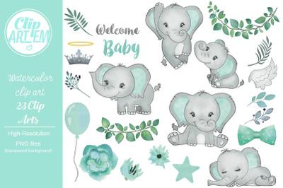 Cute Unisex Baby Elephant Mint Aqua, Light Green  23 PNG Bundle