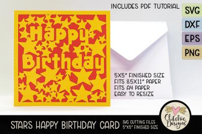 Stars Happy Birthday Card SVG Cutting File