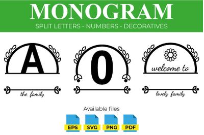 Family Monogram - Split Letters SVG