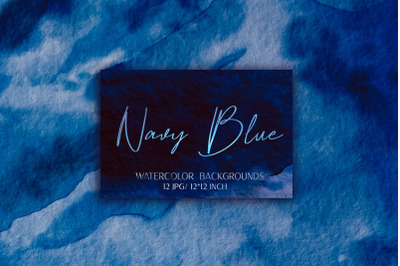 12 Navy Blue Watercolor Backgrounds
