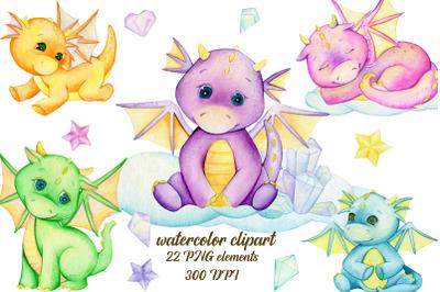 Dragon Clipart set. Watercolour animals. fairytale card. Planner Drago