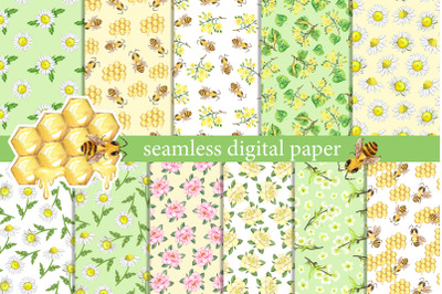 Summer digital paper. Watercolor summer flowers, insects, bees, daisie