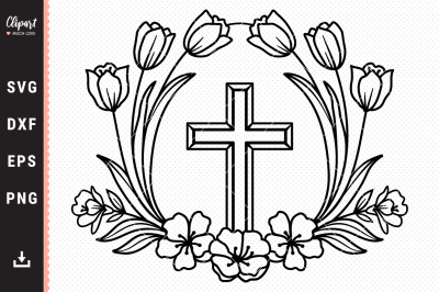 Flower Cross SVG, Religious SVG, Easter SVG, DXF, PNG