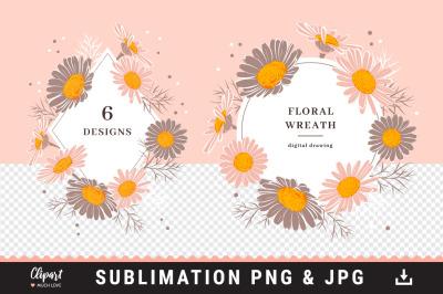 Floral wreaths sublimation designs, Daisy floral frame sublimation PNG