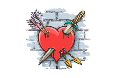 Heart Pierced by Dagger and Arrows Colorful Tattoo