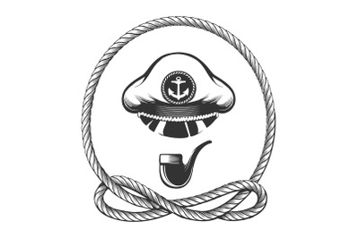 Captain Hat with Smoking Pipe Nautical Emblem